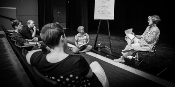 An active listening circle at Not in Our House: Boulder Theatre Community in Conversation.