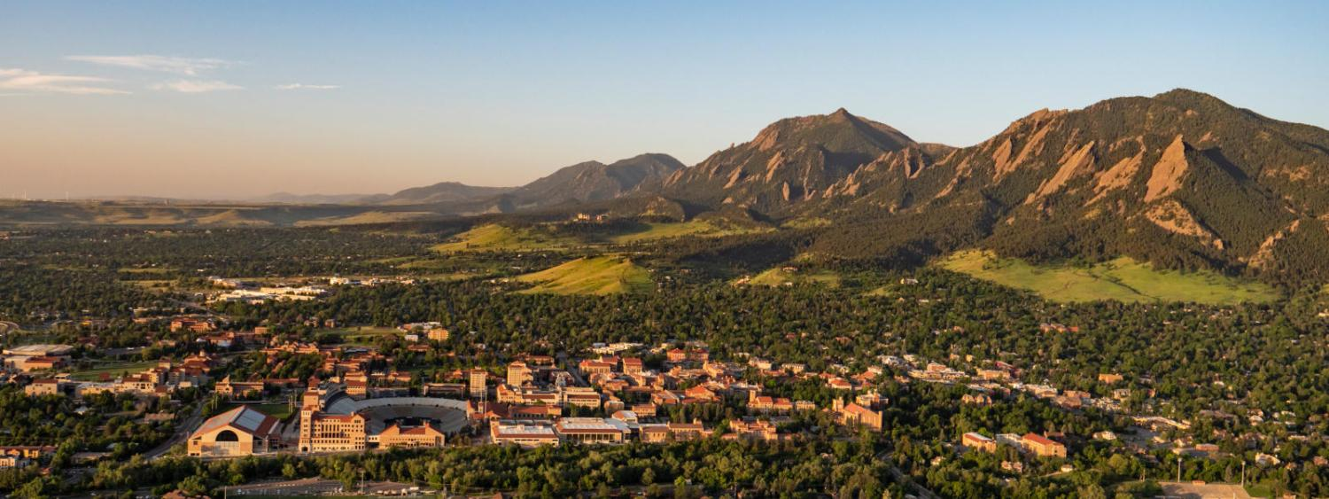 Aerial view of the CU Boulder campus and flatirons