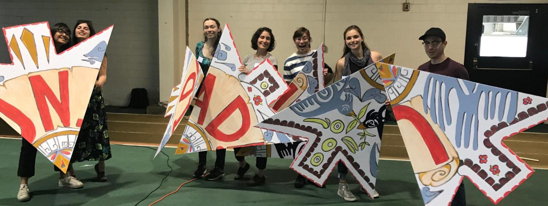 Graduate students volunteering for Spanish Heritage Day