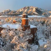 Old Main at sunrise during the winter.