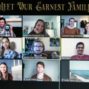 "Photo of students zooming in, titled ""Meet our Earnest Family"""