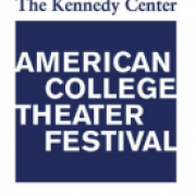 Kennedy center American college theatre festival logo white and blue