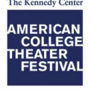 Kennedy center American college theatre festival logo white and blue