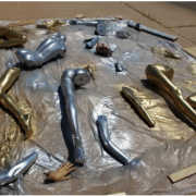 mannequin legs spray painted gold and silver