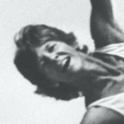 Terry Sendgraff on a trapeze