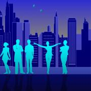 Graphic showing the outlines of six people in front of a city skyline