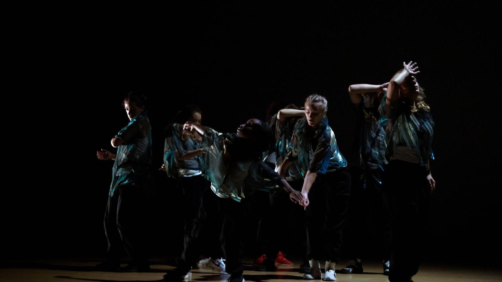 several students perform a hip-hop piece