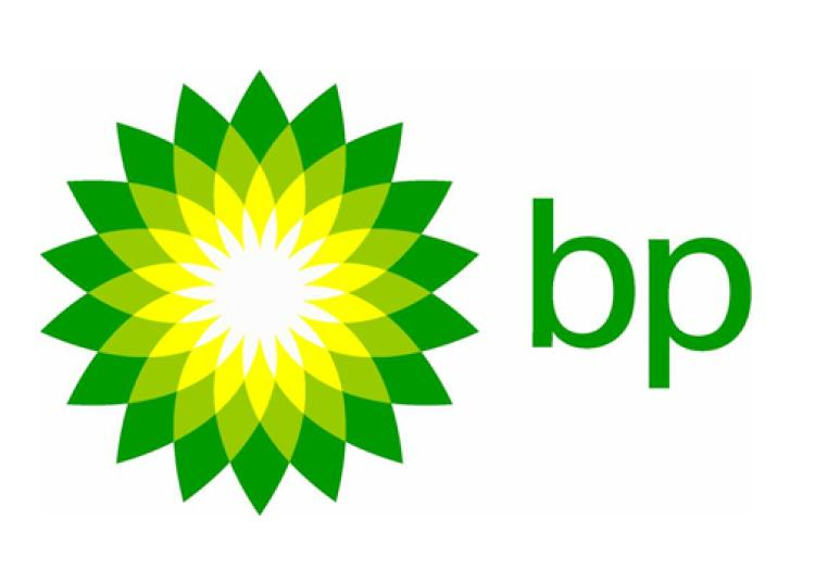 The British Petroleum logo, which features a green flower-like symbol