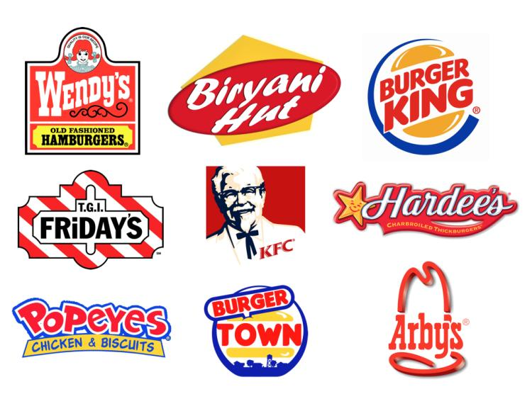 Logos of popular fast food chains, with dominant reds and yellows