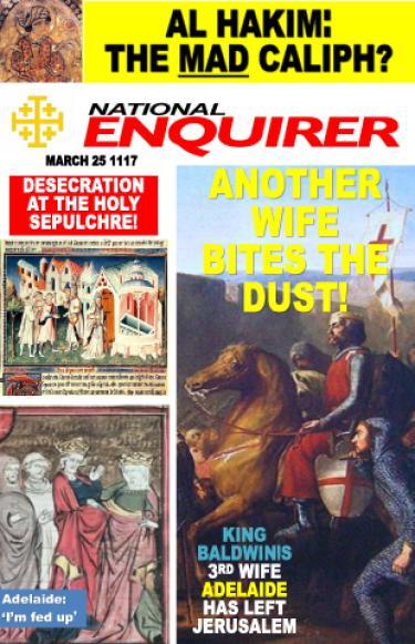A parody of a lurid tabloid cover