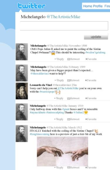 A parody of Michelangelo's Twiter page