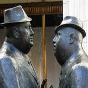 Thumbnail image of sculptor by artist William McElcheran, showing two men in conversation