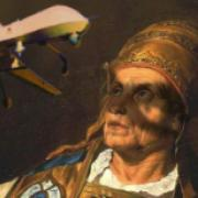A parody of a medieval painting featuring a drone aircraft