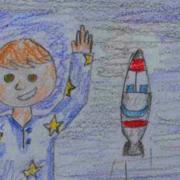 Thumbnail detail from student-produced children's book on space