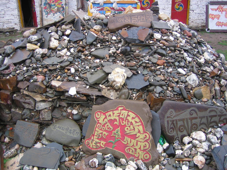 Mani Stones next to the Stupa