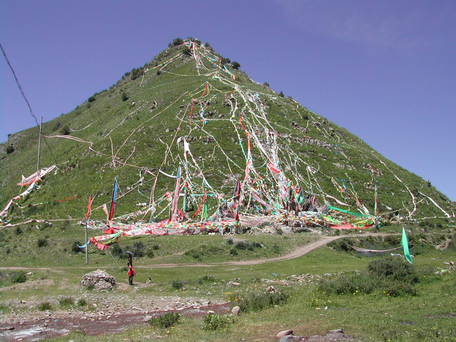 Sacred Mountain with Prayer Flags