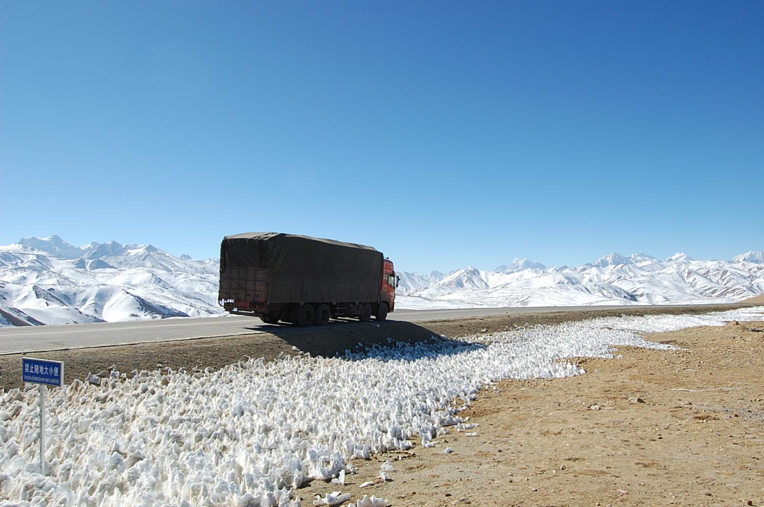 One of dozens of cargo trucks that daily descend from the Tibetan plateau to the China-Nepal border at Zhangmu-Kodari with a variety of Chinese exports