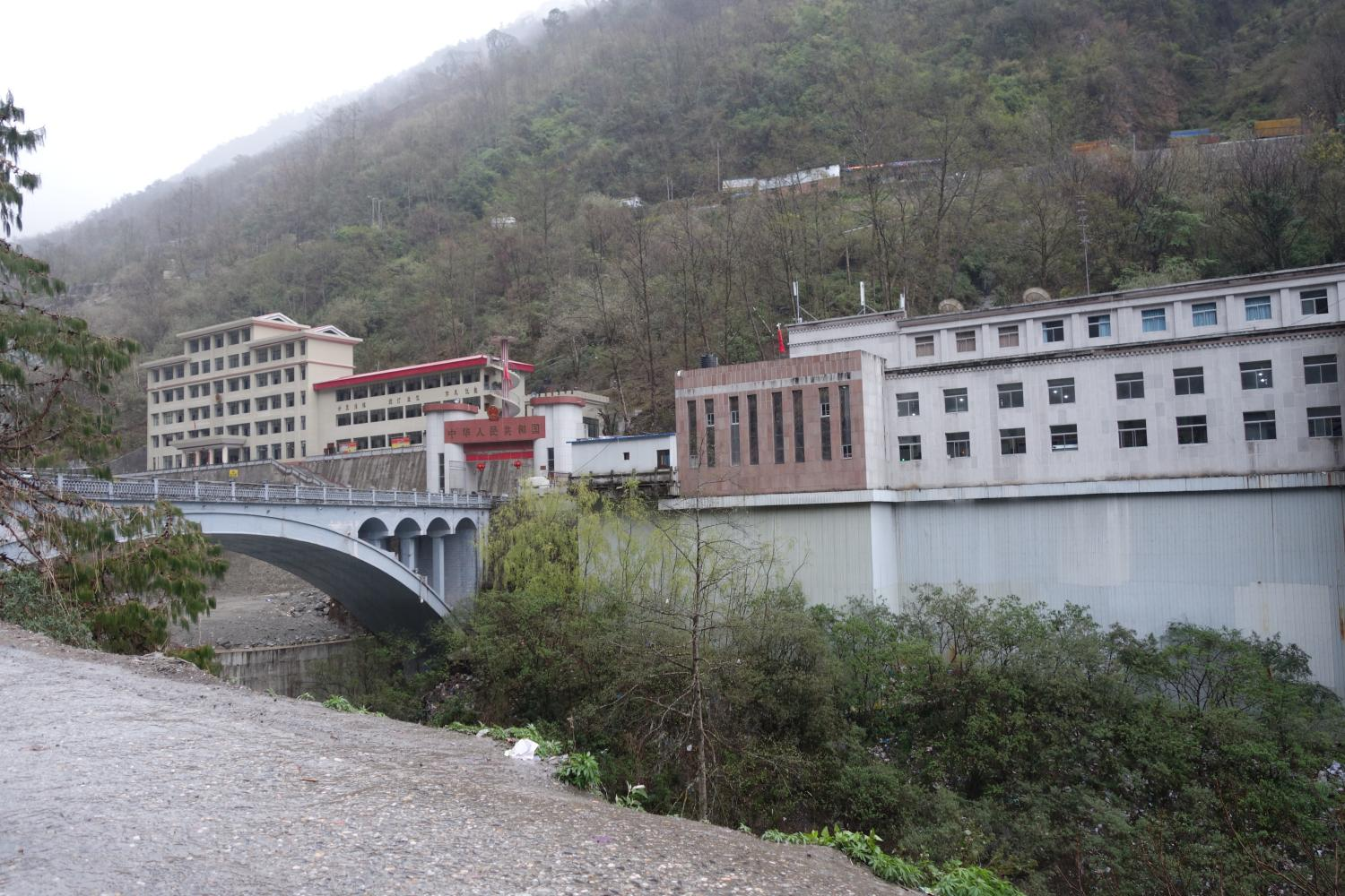 Warehouses and customs offices at Zhangmu station and the Friendship Bridge