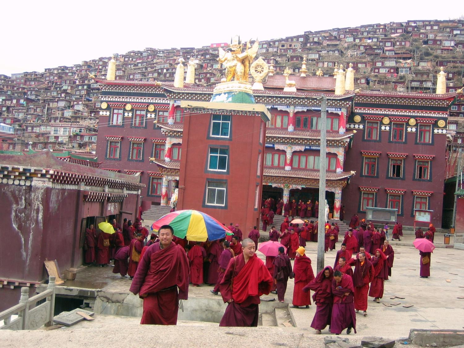 Monks Emerging from Main Lhakhang