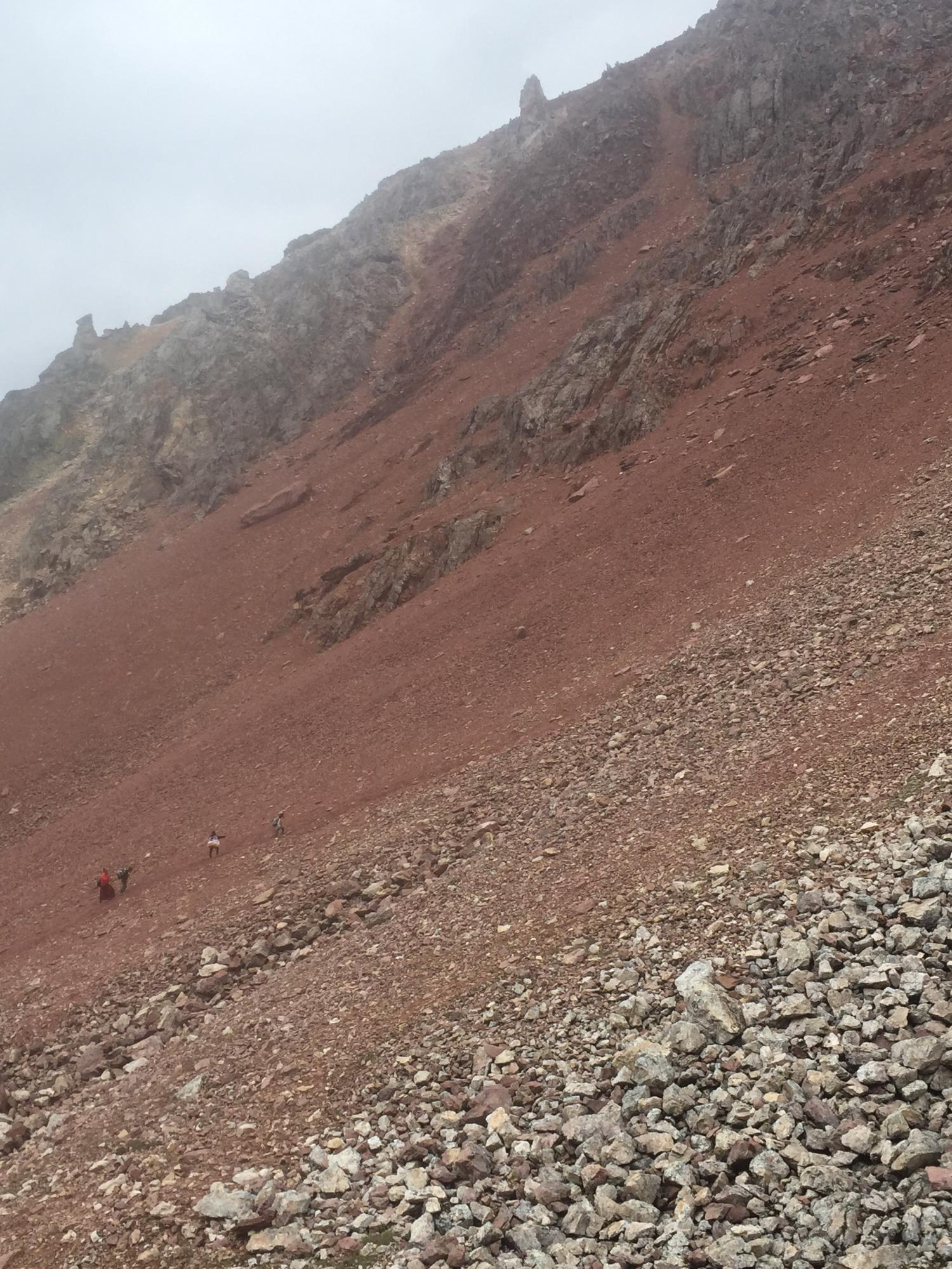 Steep scree on the way up to the last, and highest, pass, Shola.
