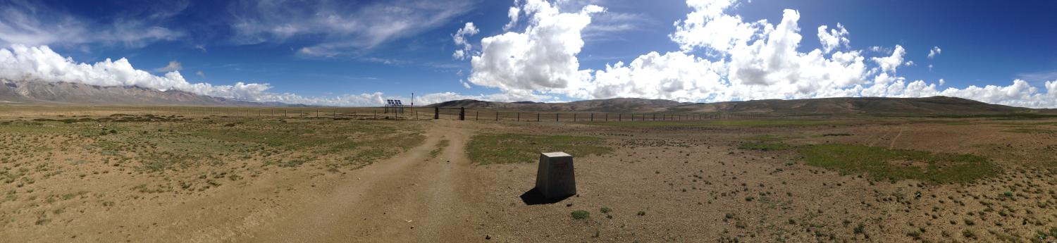 A panorama of new infrastructure and historical demarcations of the Nepal-China border at Neychung-Likse