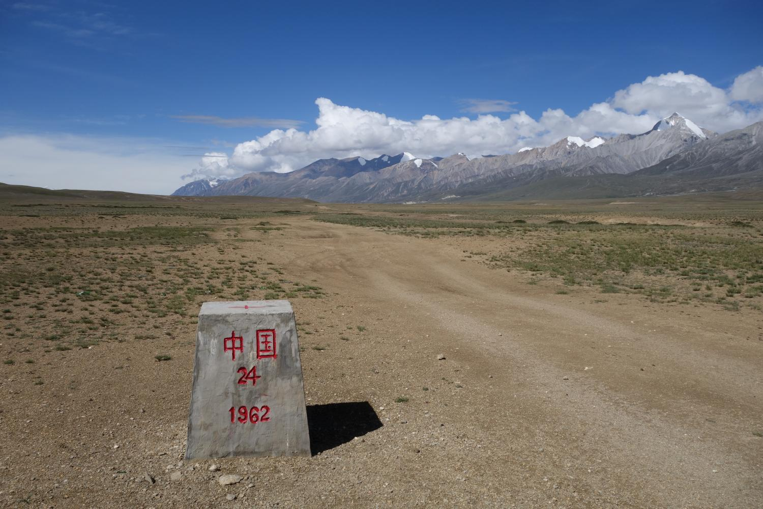 The 1962 border marker demarcates the Chinese and Nepali border atop the Tibetan Plateau at Neychung-Likse