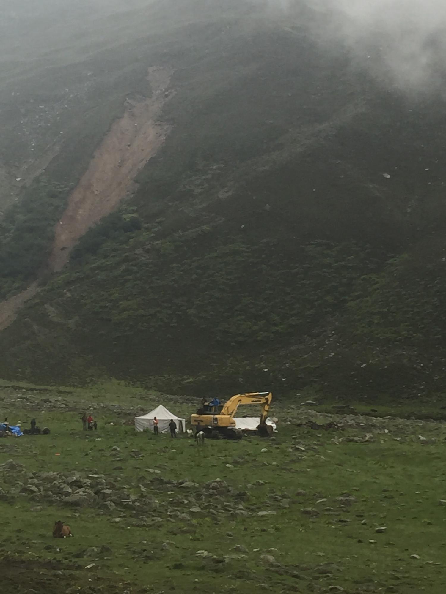 Excavator near the campsite