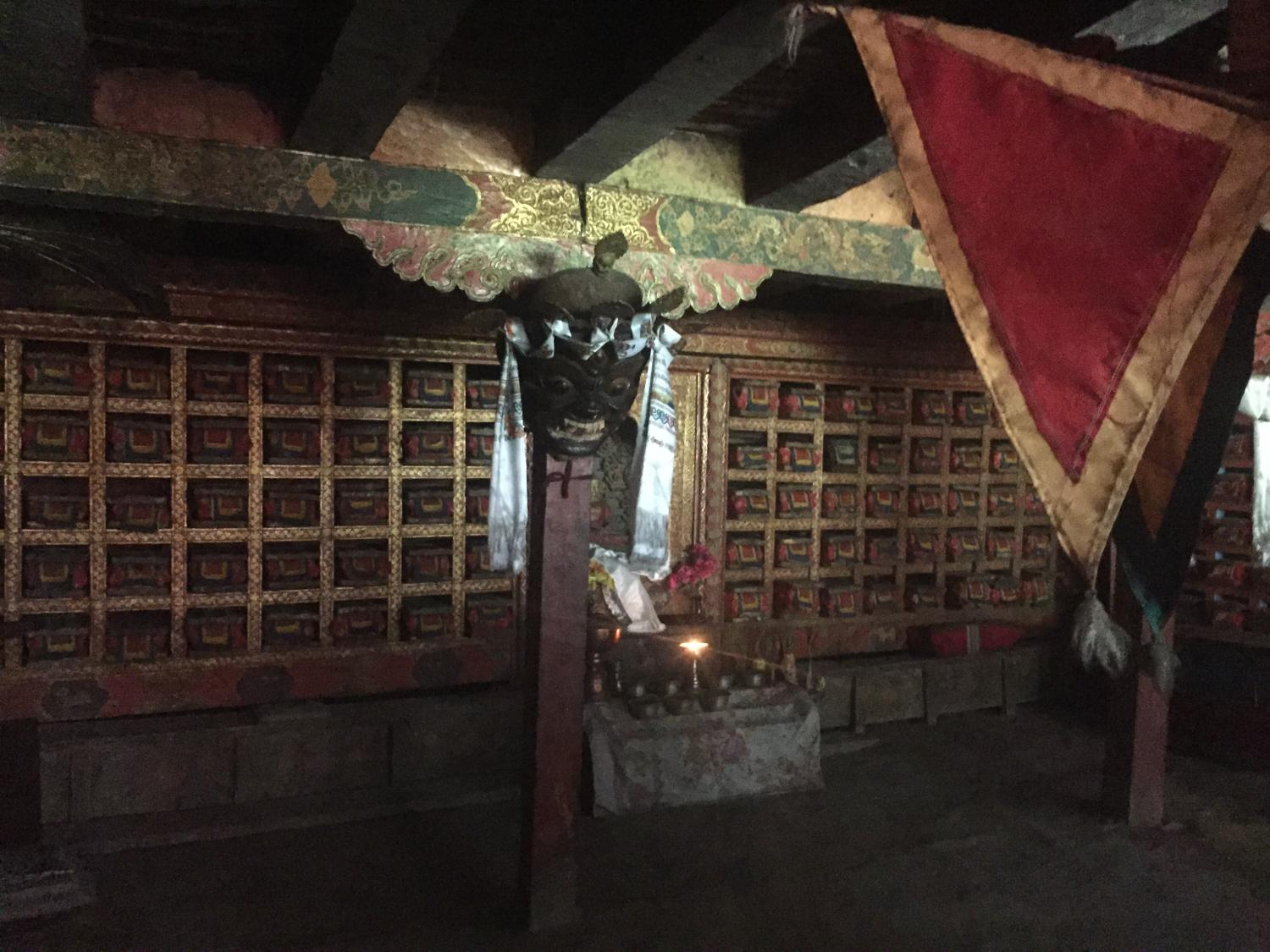 inside a shrine in Rinchenling Monastery