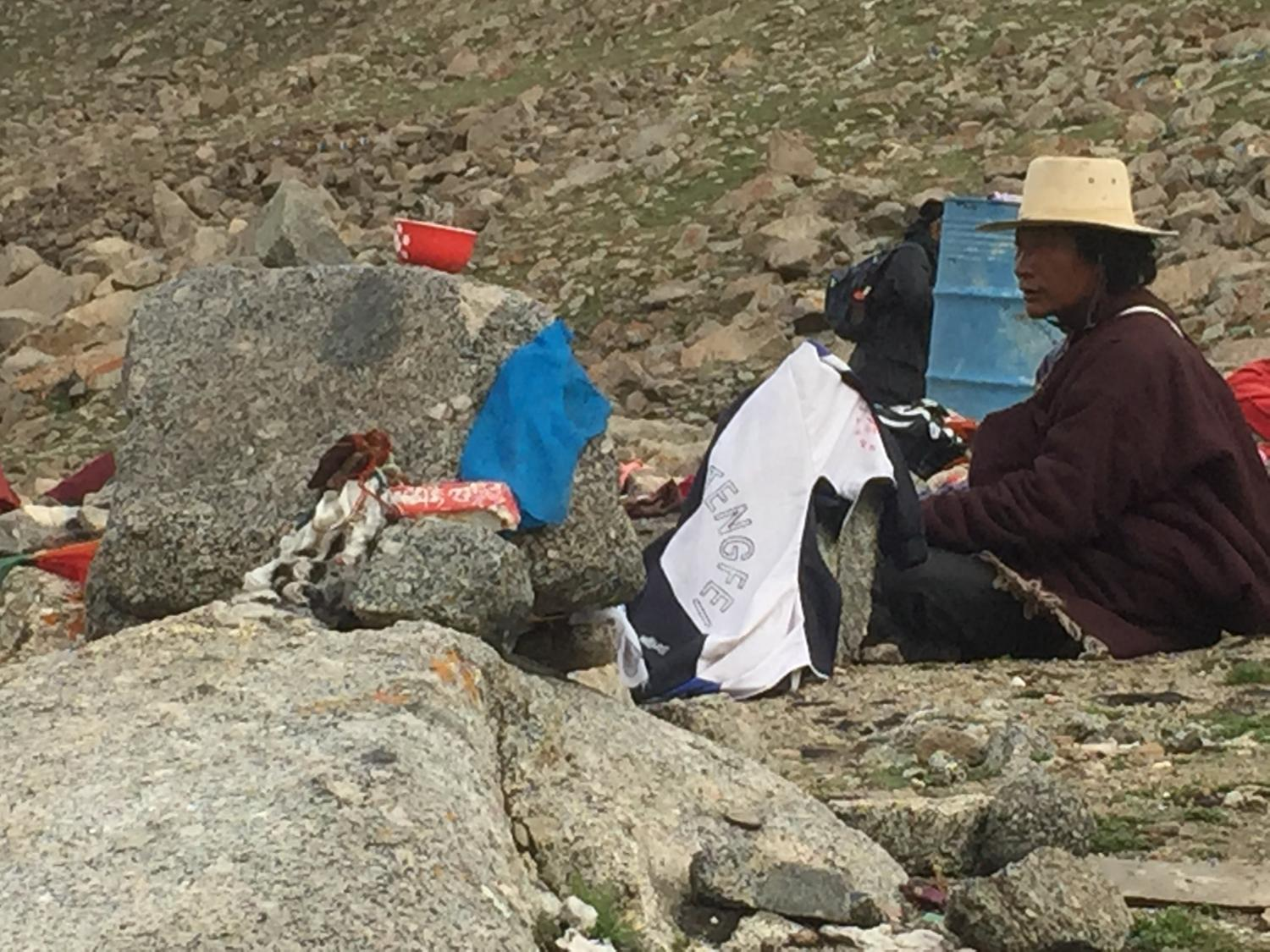 pilgrim at sky burial site