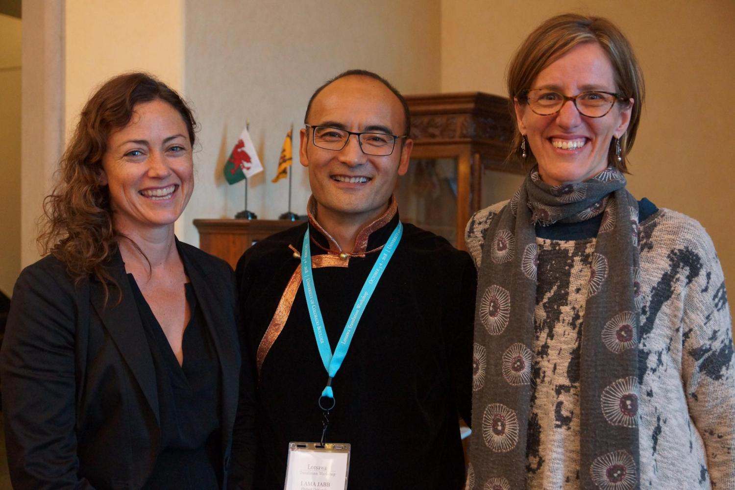 Co-organizers Dominique Townsend and Holly Gayley with Lama Jabb after his Keynote
