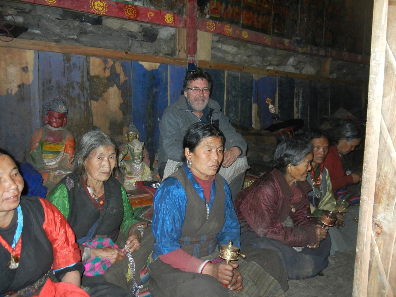 village women in the gompa