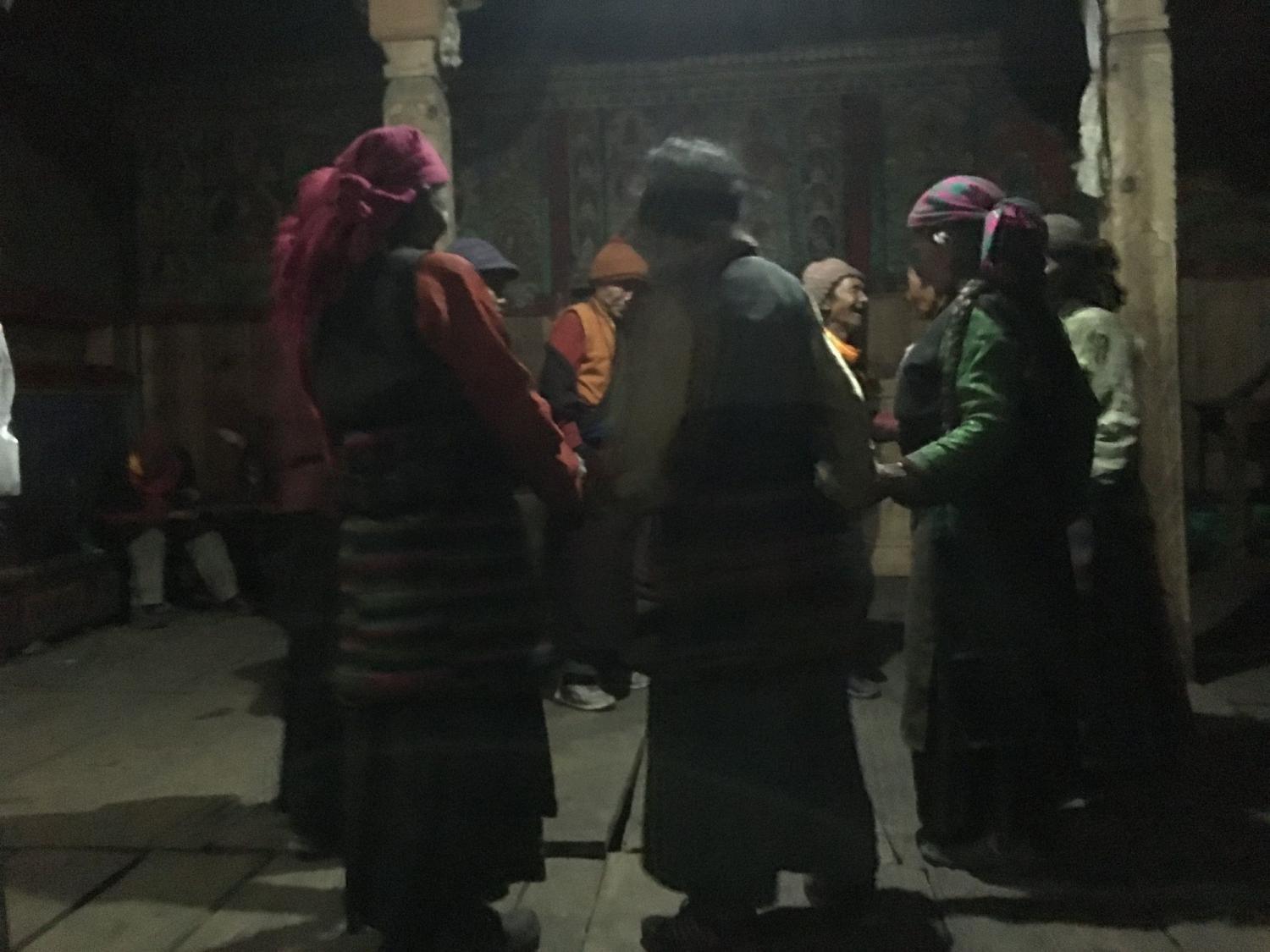 Dancing all night in the gompa