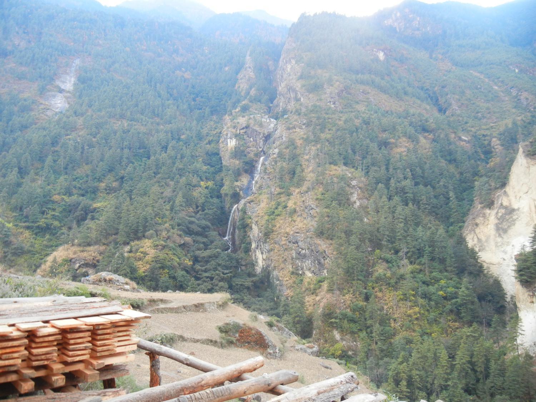 Hand-sawmill with waterfall, looking toward Prok.