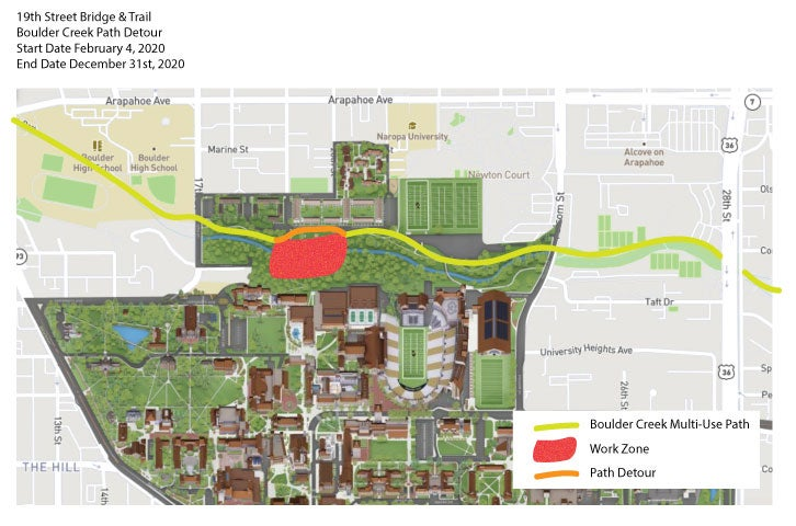 A map showing a planned detour for work to build the 19th Street pedestrian bridge