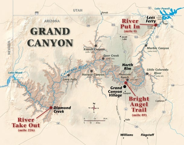 A map highlighting the group's route on the Colorado River in the Grand Canyon