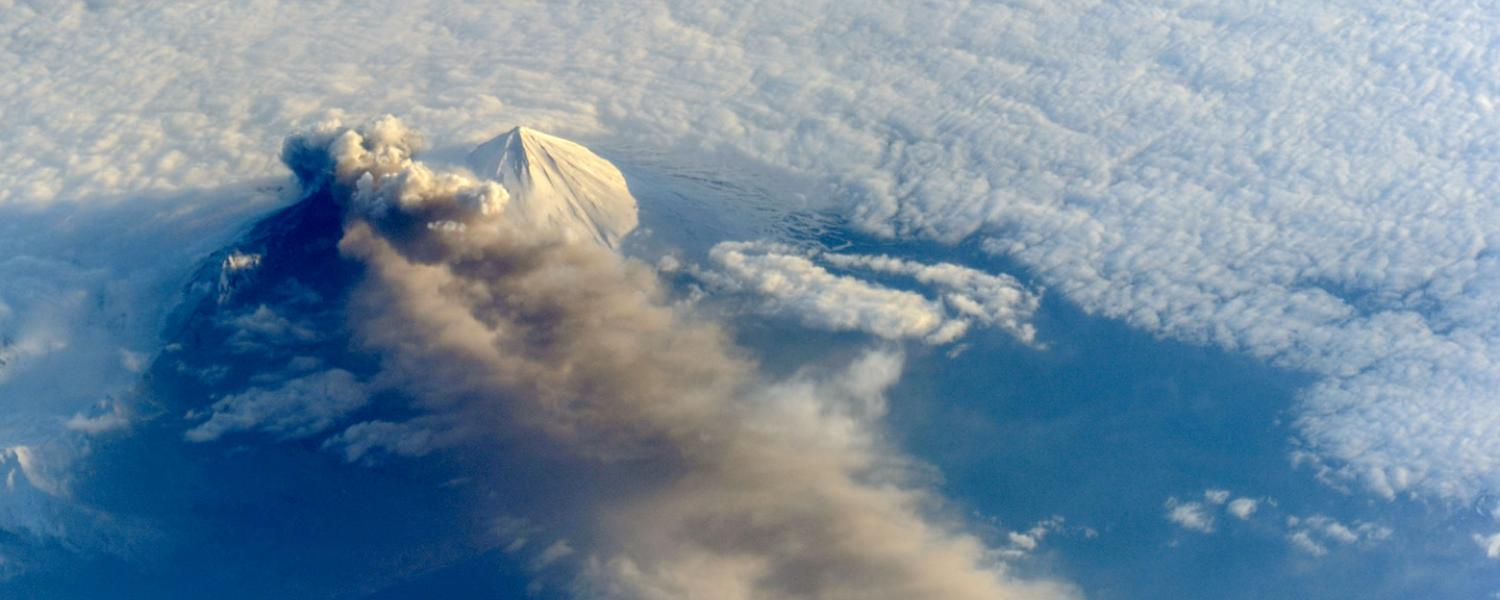 Volcanic eruption as seen from space