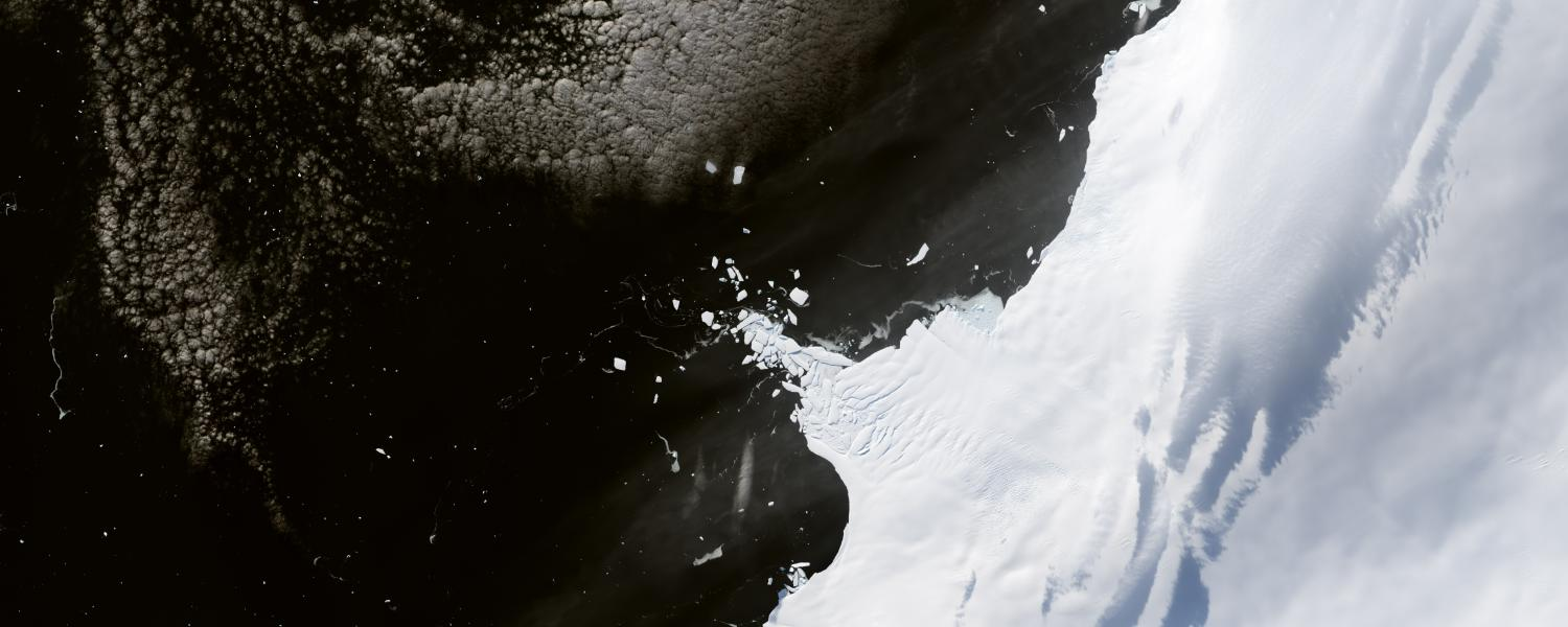 The loss of Antarctic ice as seen in Landsat images.