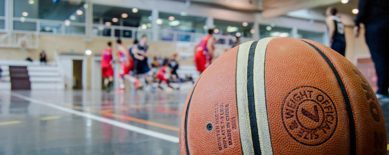 Basketball sitting on court