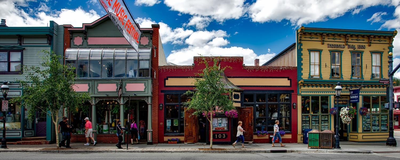 View of storefronts in Breckenridge, Colorado.