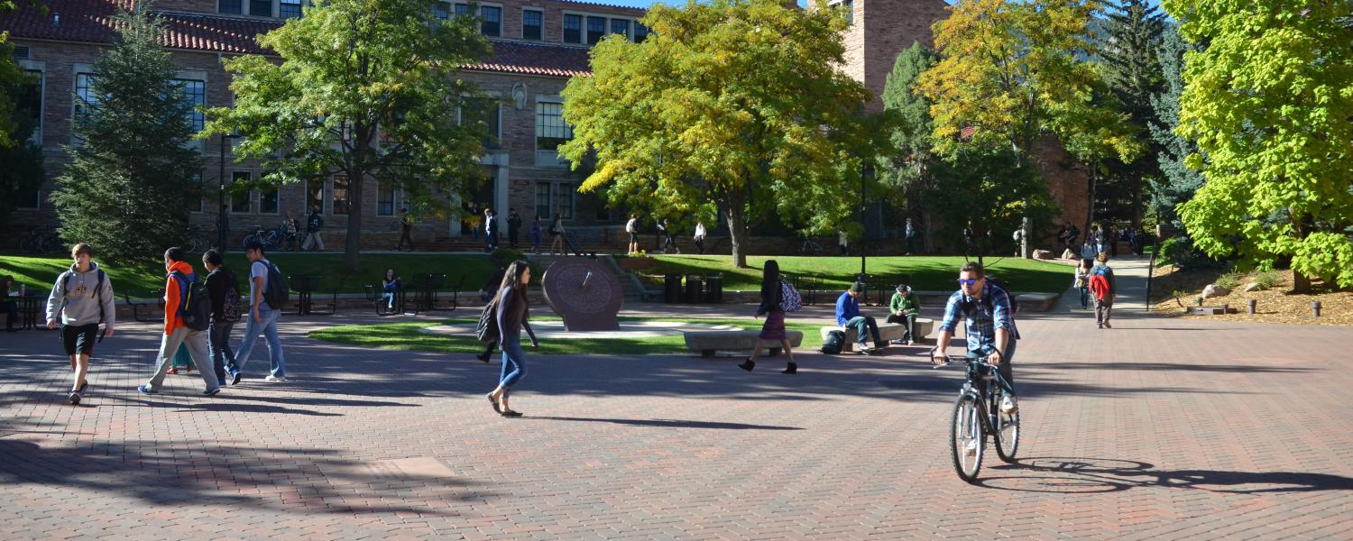 Students walk across campus