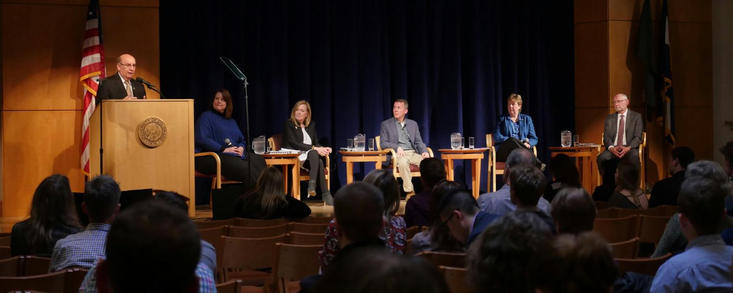 Chancellor DiStefano and panel at Spring Town Hall 2017
