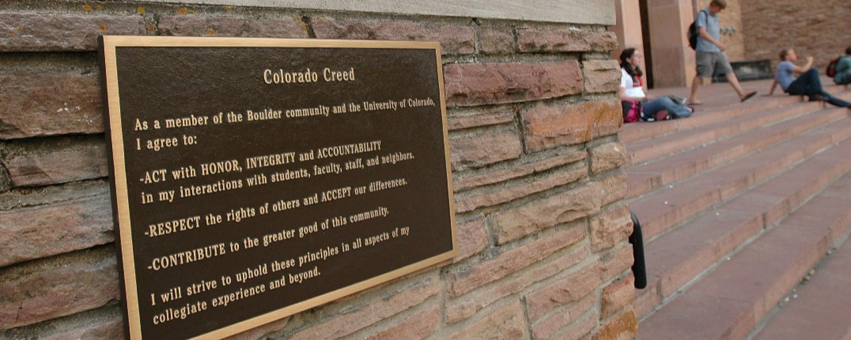 Colorado Creed plaque at Norlin Library