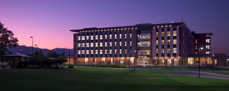 CU Boulder's Aerospace Engineering Sciences Building lights up at night