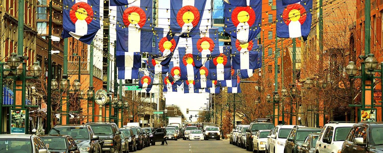 Colorado flags over Larimer Square in Denver.