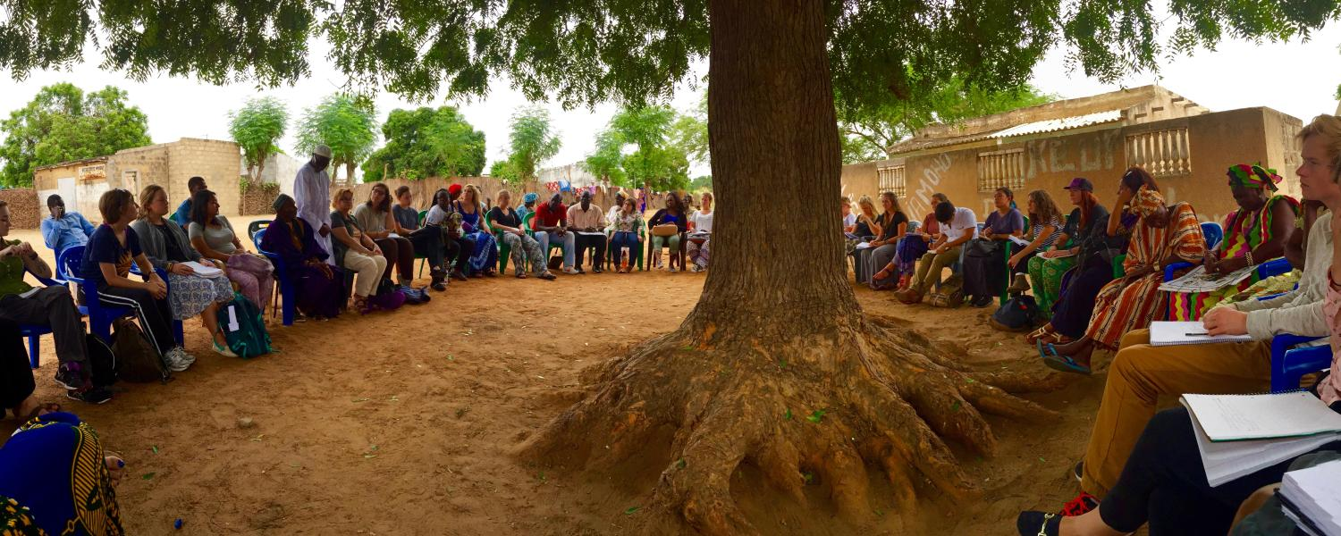 Students in Senegal Ed Abroad program listen to local village discuss women's rights