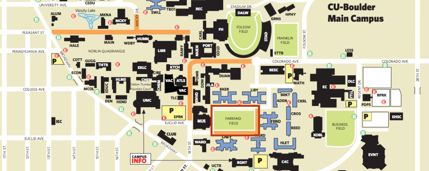 map showing farrand field location on campus. sen bernie sanders on campus for amendment  event monday  cu