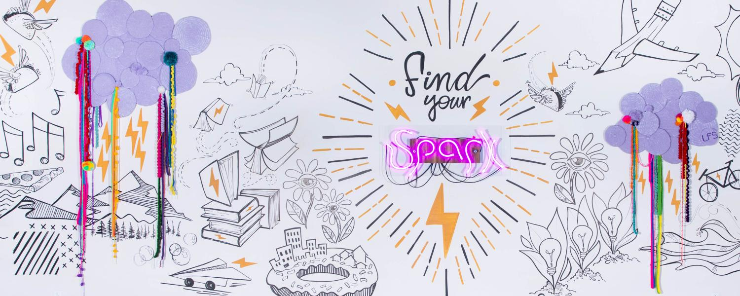 """""""Find your spark"""" entrepreneurial space mural"""