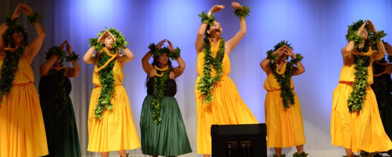 Hula dancers perform at CU Boulder's International Festival