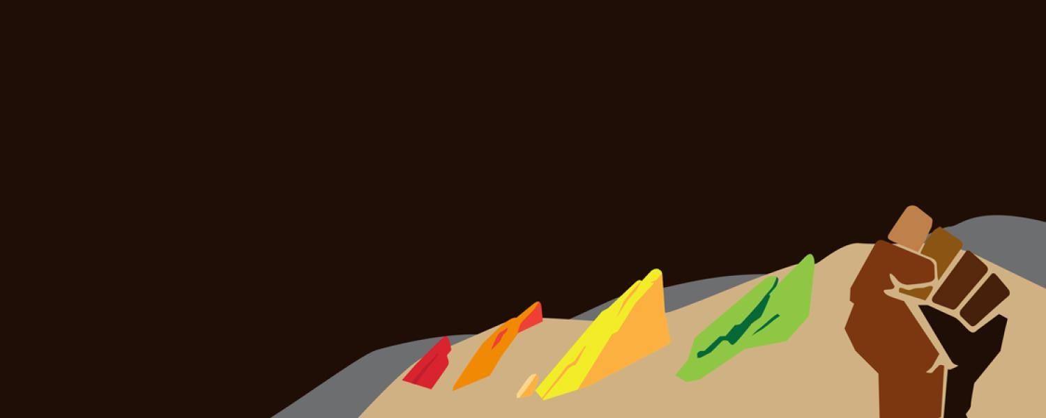 A graphic representing the Flatirons in a rainbow of colors