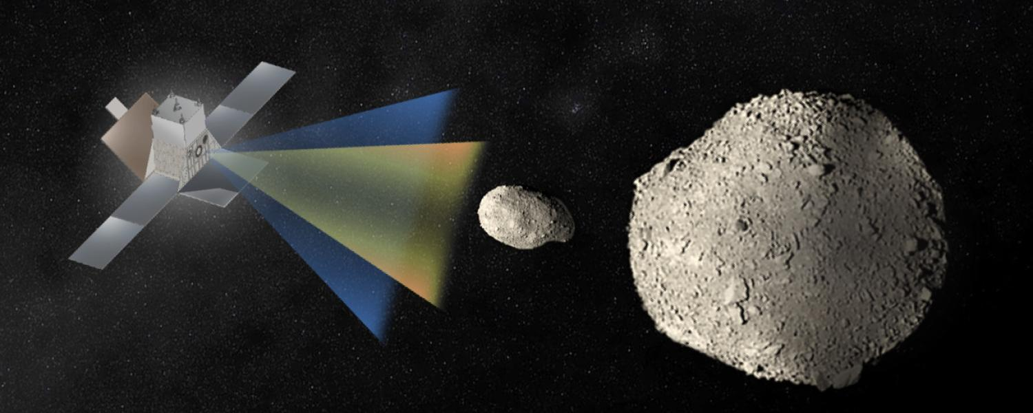 NASA rendering of a Janus satellite rendezvousing with a binary asteroid.